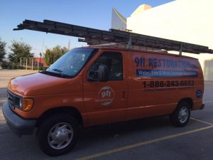 Water Damage and Mold Removal Van A Commercial Job Site
