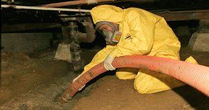 Sewage Backup Technician In Crawlspace
