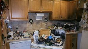Fire Damage In A Kitchen